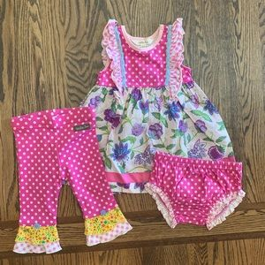 Baby dress with diaper cover and matching leggings